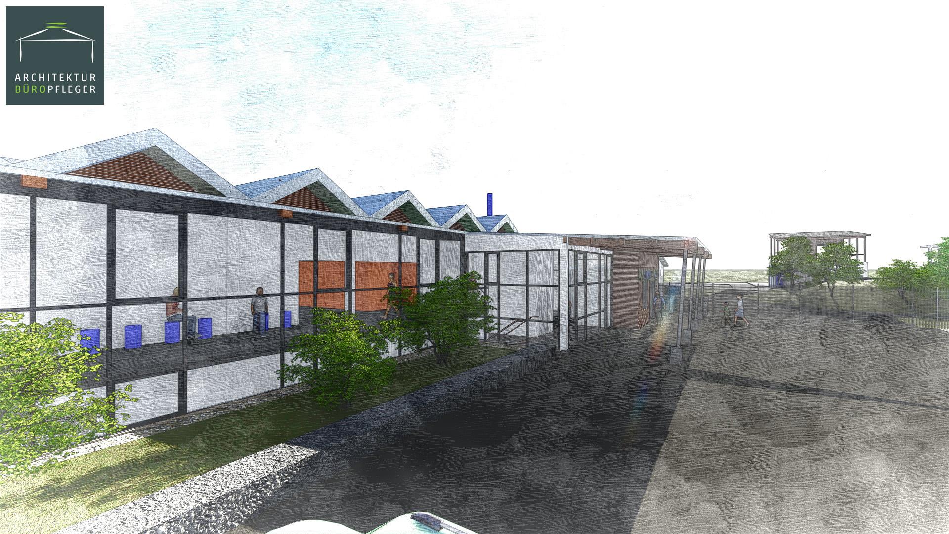 Baubeginn  1. Bauabschnitt Hallen- und Freibad Landau